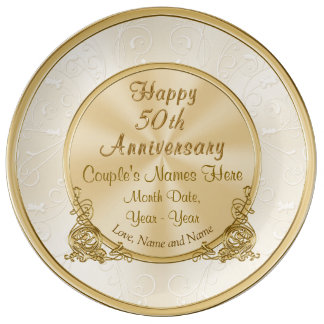 personalized 50th anniversary gift 3 text boxes dinner plate