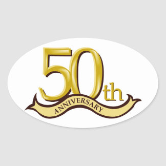 Personalized 50th Anniversary Gift Oval Sticker