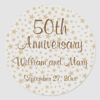 Personalized 50th Anniversary Golden Stars Classic Round Sticker