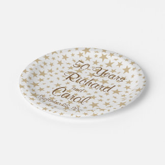 Personalized 50th Anniversary Golden Stars Paper Plate