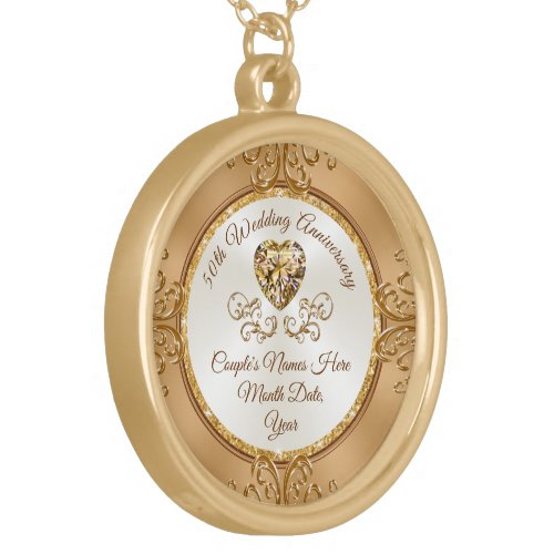 Personalized, 50th Anniversary Necklace for Wife
