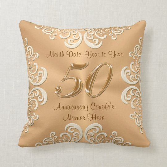 Golden Rose Damask 50th Wedding Anniversary Pillow | Zazzle |50th Wedding Anniversary Pillows