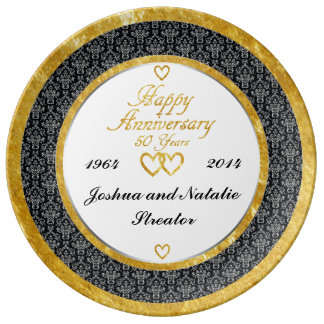 Personalized 50th Anniversary Porcelain Plate