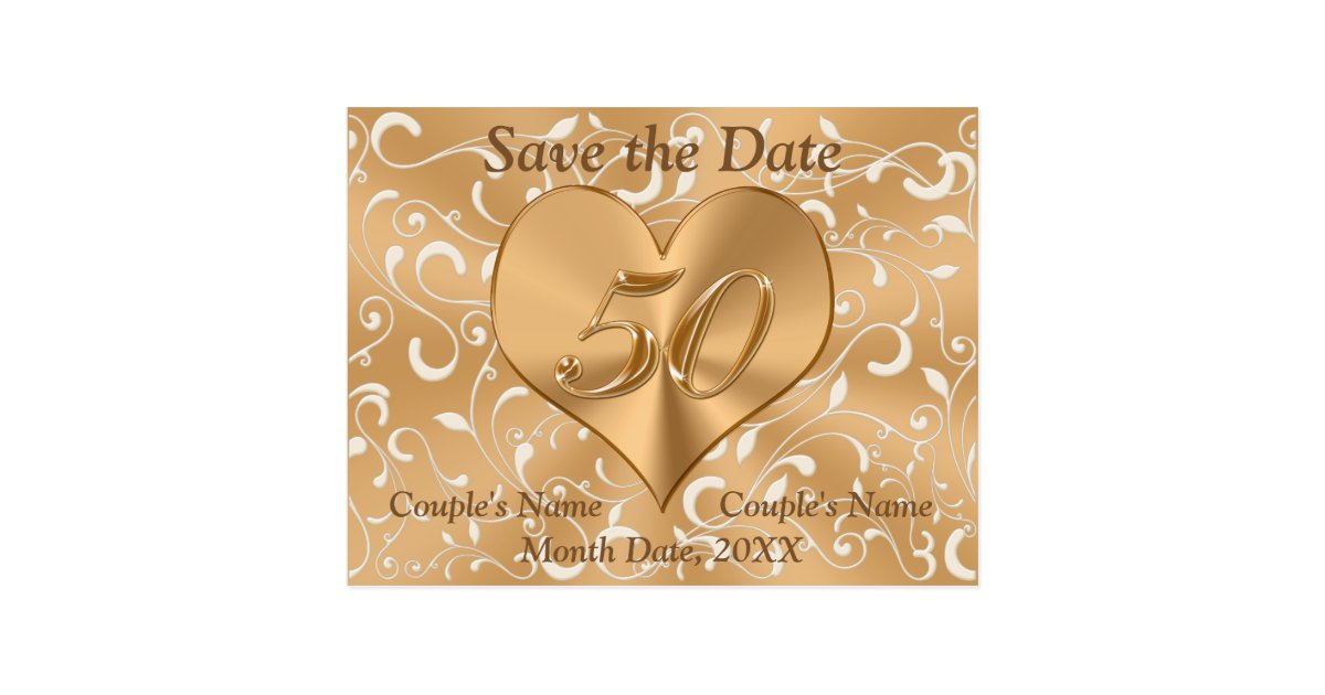 Personalized 50th anniversary save the date cards zazzle.com