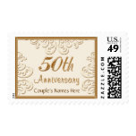 Personalized 50th Anniversary Stamps, ELEGANT Postage