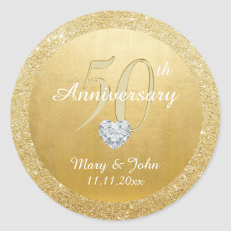 Personalized 50th Anniversary Wedding Gold Glitter Classic Round Sticker
