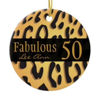 Personalized 50th Birthday Animal Print Ornament ornament