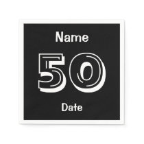 Personalized 50th Birthday Black Party Napkins