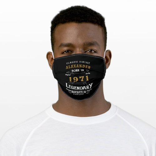 Personalized 50th Birthday Born 1971 Vintage Black Adult Cloth Face Mask