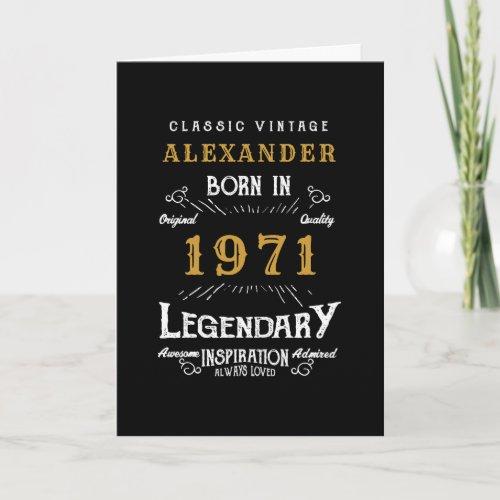 Personalized 50th Birthday Born 1971 Vintage Black Card