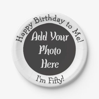 Personalized 50th Birthday Photo Paper Plate