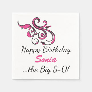Personalized 50th Birthday Pink Swirls Paper Napkin
