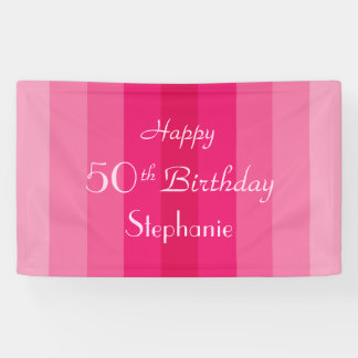 Personalized 50th Birthday Sign Pink Stripes Banner