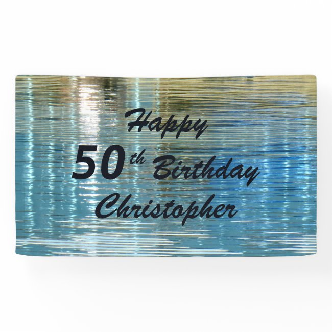 Personalized 50th Birthday Sign Reflection in Lake