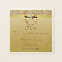 Personalized 50th Gold Wedding Anniversary Napkin