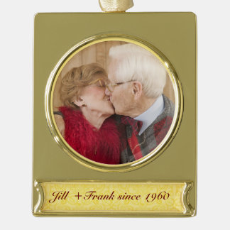 Personalized 50th Golden Wedding Anniversary Gold Plated Banner Ornament
