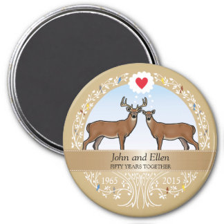 Personalized 50th Wedding Anniversary, Buck & Doe 3 Inch Round Magnet