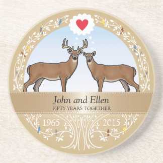 Personalized 50th Wedding Anniversary, Buck & Doe Coaster