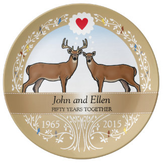 Personalized 50th Wedding Anniversary, Buck & Doe Dinner Plate
