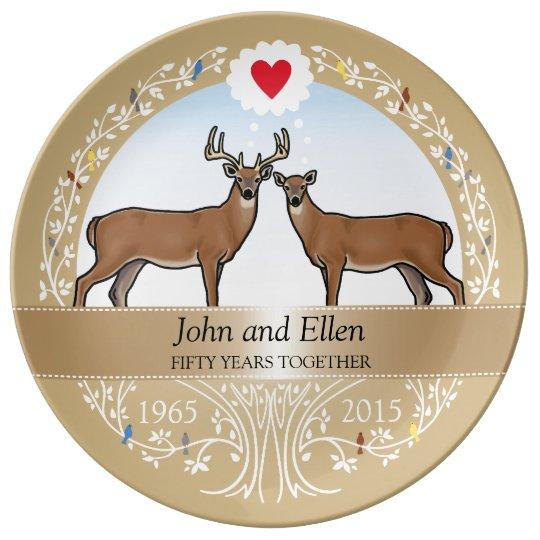 Personalized 50th Wedding Anniversary Buck Doe Dinner Plate