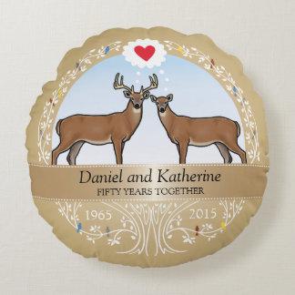 Personalized 50th Wedding Anniversary, Buck & Doe Round Pillow