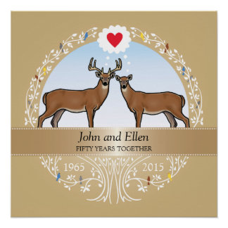 Personalized 50th Wedding Anniversary, Buck & Doe Poster