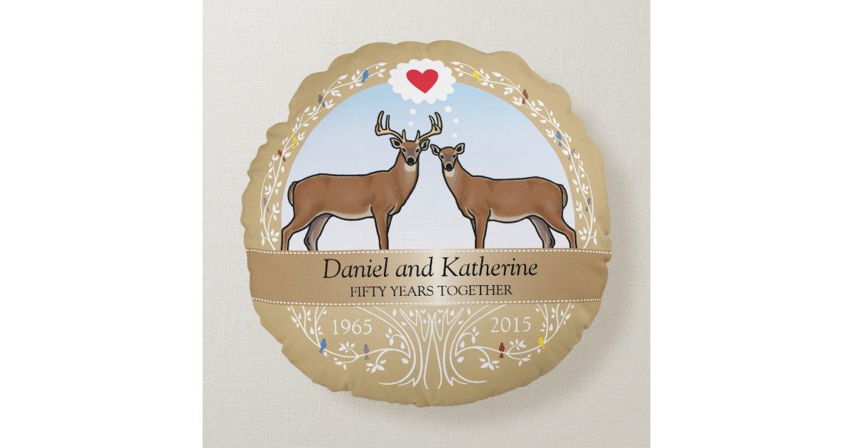 50th Wedding Anniversary Gift Pillows: Personalized 50th Wedding Anniversary, Buck & Doe Round