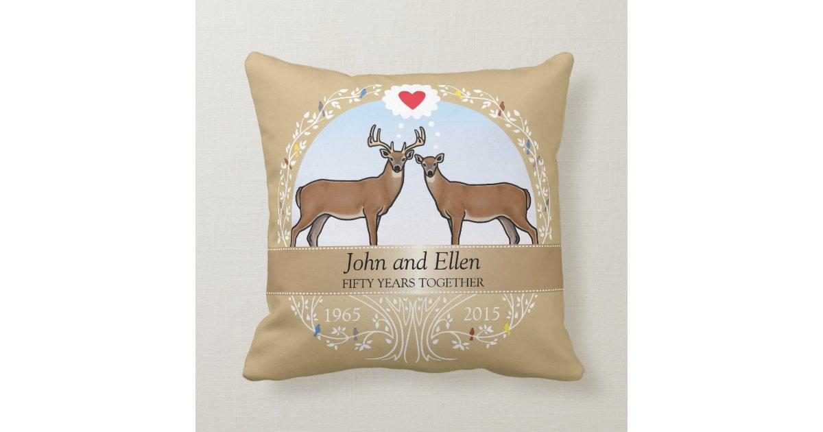 50th Wedding Anniversary Gift Pillows: Personalized 50th Wedding Anniversary, Buck & Doe Throw