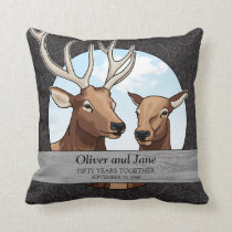 Personalized 50th Wedding Anniversary, Elk Throw Pillow