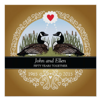 Personalized 50th Wedding Anniversary, Geese Poster