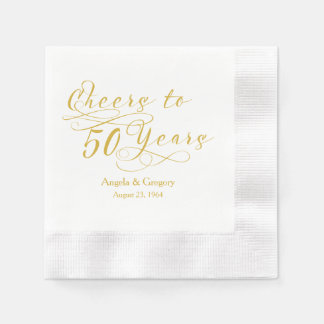 Personalized 50th Wedding Anniversary Gold Cheers Paper Napkin