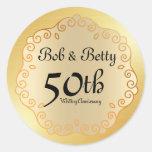 Personalized 50th Wedding Anniversary Gold Classic Round Sticker