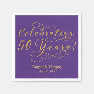 Personalized 50th Wedding Anniversary Gold Purple Paper Napkin