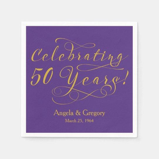 50th Wedding Anniversary Gift Etiquette: Personalized 50th Wedding Anniversary Gold Purple Paper