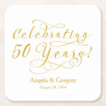 "Personalized 50th Wedding Anniversary Gold White Square Paper Coaster<br><div class=""desc"">You can personalize the names and wedding date on these modern gold and white typography script &quot;Celebrating 50 years&quot;  personalized 50th wedding anniversary paper coasters. Great fiftieth wedding anniversary coasters regardless of the season. Matching paper napkins available.</div>"