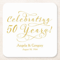 Personalized 50th Wedding Anniversary Gold White Square Paper Coaster