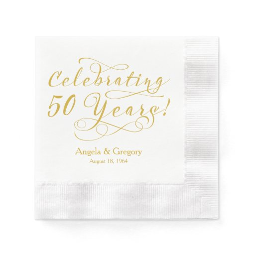 personalized 50th wedding anniversary gold white paper With 50th wedding anniversary napkins