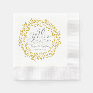 Personalized 50th Wedding Anniversary Gold Wreath Paper Napkin