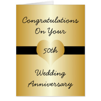 Personalized 50th Wedding Anniversary Golden Heart Card