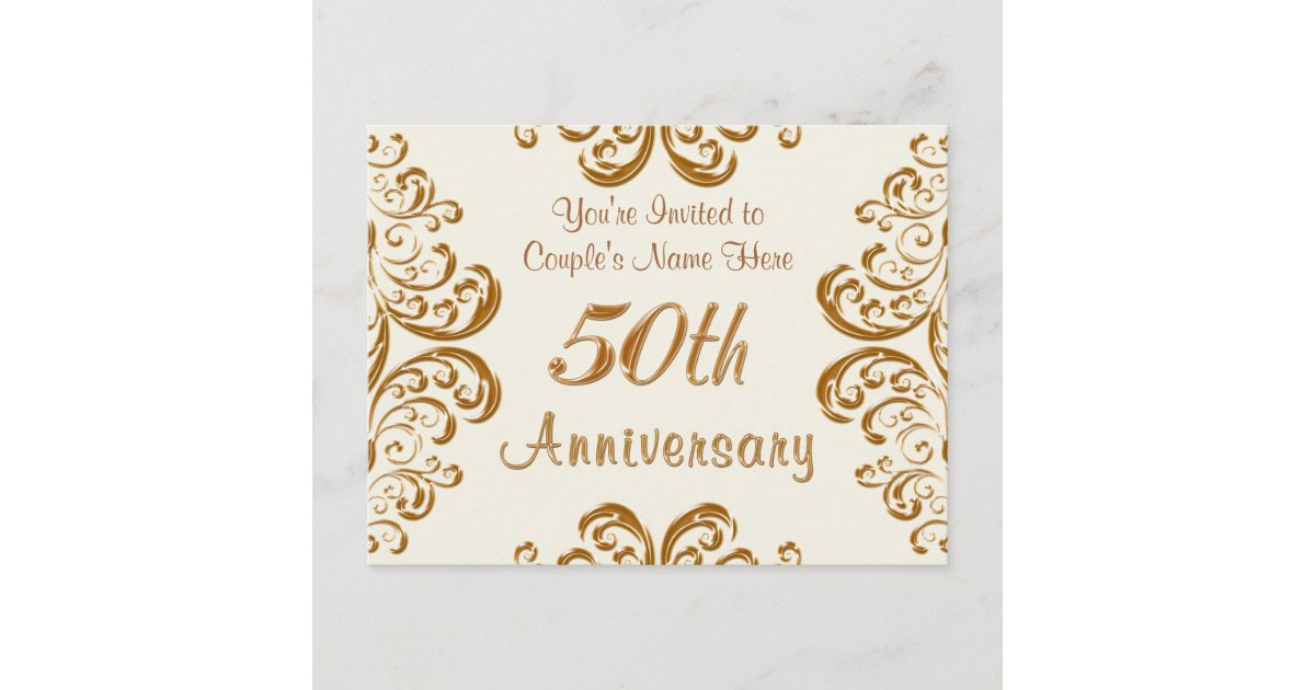 Fiftieth Wedding Anniversary Invitations: Personalized 50th Wedding Anniversary Invitations