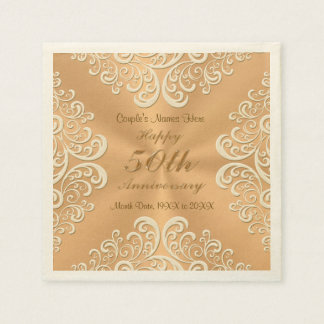 Personalized 50th Wedding Anniversary Napkins Disposable Napkins