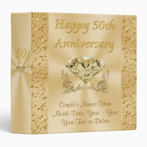 Personalized 50th Wedding Anniversary Photo Album 3 Ring Binder