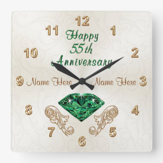 Personalized 55th Anniversary Gifts, Emerald Clock