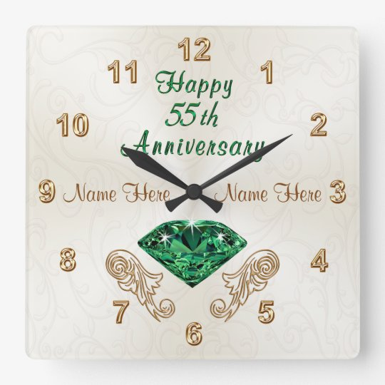 Personalized 55th Anniversary Gifts Emerald Clock Zazzle