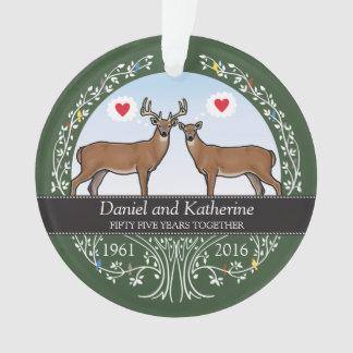 Personalized 55th Wedding Anniversary, Buck & Doe Ornament