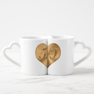 PERSONALIZED 59th Wedding Anniversary Heart Mugs Couples' Coffee Mug Set