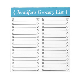 "Personalized 5.5"" x 6"" Blue Grocery List Notepad"