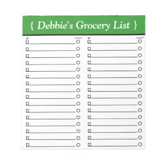 "Personalized 5.5"" x 6"" Green Grocery List Notepad"