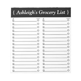 """Personalized 5.5"""" x 6"""" Grocery List Notepad"""