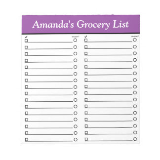 """Personalized 5.5"""" x 6"""" Purple Grocery List Notepad"""